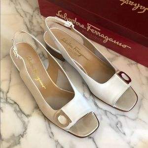 Ferragamo White Leather Buckled Block-Heel Sandal